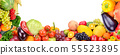 Frame of vegetables and fruits on white 55523895