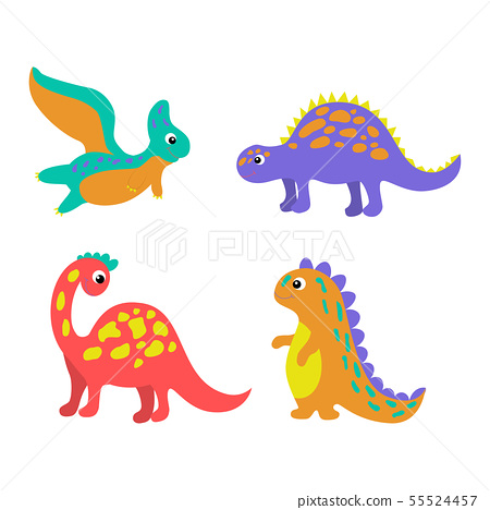 Set of colorful dinosaurs in beautiful style on 55524457