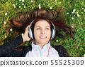 girl, headphones, listening 55525309