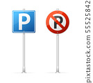 Realistic Detailed 3d No Parking and Parking Road Sign Group. Vector 55525842
