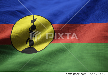 Closeup of Ruffled New Caledonia Flag 55526435