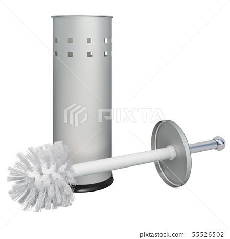 Toilet brush and holder, 3D rendering 55526502