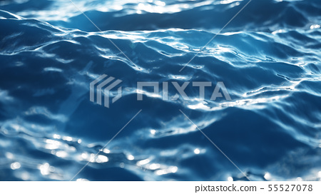 Sea wave low angle view. Ocean water background. Sea or ocean wave close-up view. Beautiful blue 55527078