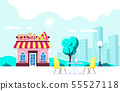 Pizza restaurant building 55527118