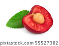 half cherry with leaf closeup isolated on white background, 55527382