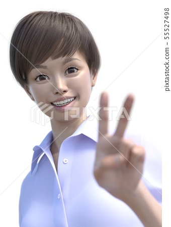 Shortcut woman facial expression action pering3DCG illustration material 55527498