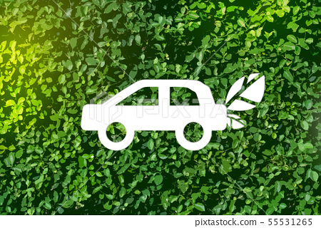 Eco-car on a green background - the concept of lov 55531265