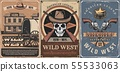 Wild West cowboy skull, sheriff guns, star, saloon 55533063