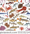 Seafood, fish pattern with crab, salmon, octopus 55533214
