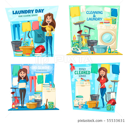 Woman, laundry, house cleaning, mop, vacuum, broom 55533631