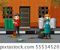 Cartoon janitor man with a broom cleaning up 55534520