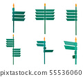 Set of blank direction green signpost isolated on 55536060