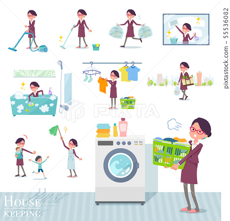 flat type glasses office women_housekeeping 55536082