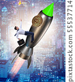 Businessman flying on rocket in bitcoin price rising concept 55537714