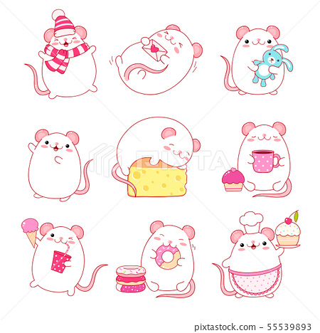 Collection of cute white rats in kawaii style 55539893