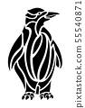 Black and white tattoo art with cartoon penguin 55540871