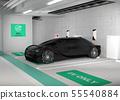 지하 주차장의 충전 스테이션으로 충전하는 전기 자동차의 이미지 55540884