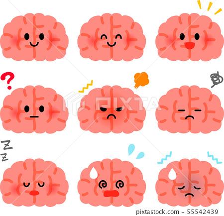 귀여운 뇌 캐릭터의 일러스트 세트 55542439