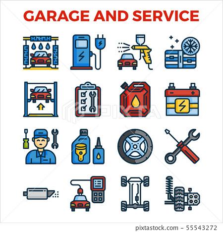 Automotive garage and service outline color icon 55543272