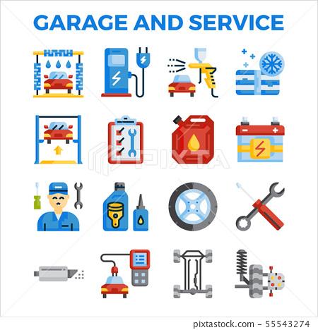 Automotive garage and service flat icon 55543274