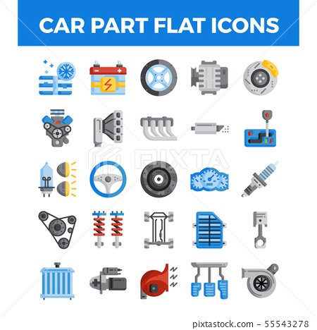 Vehicle and car parts flat icons. 55543278