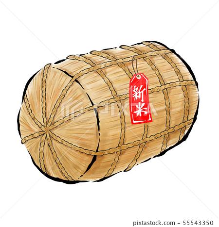 쌀 가마니 햅쌀 붓 터치 55543350