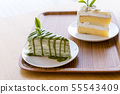 Green tea cake placed on a wooden plate 55543409
