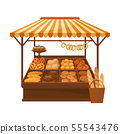 Market pavilion for the sale of bakery products. Vector illustration on white background. 55543476