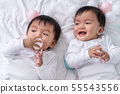 cheerful twin babies playing color ball on bed 55543556