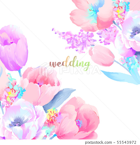美麗優雅的水彩玫瑰和牡丹花花卉插畫 55543972