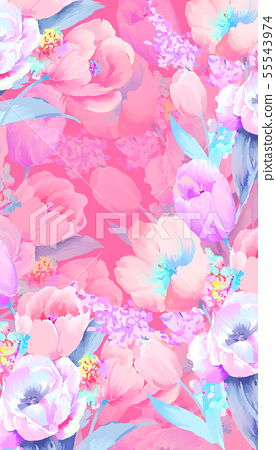 Beautiful elegant watercolor rose and peony flower illustration 55543974