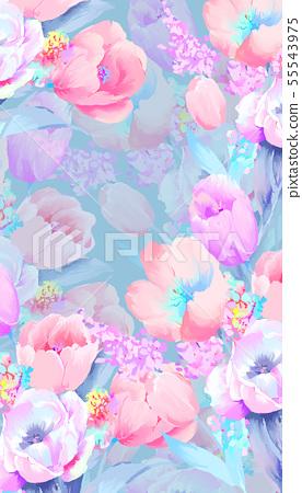美麗優雅的水彩玫瑰和牡丹花花卉插畫 55543975