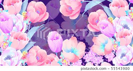 아름 다운 우아한 수채화 장미와 모란 꽃 그림 55543980