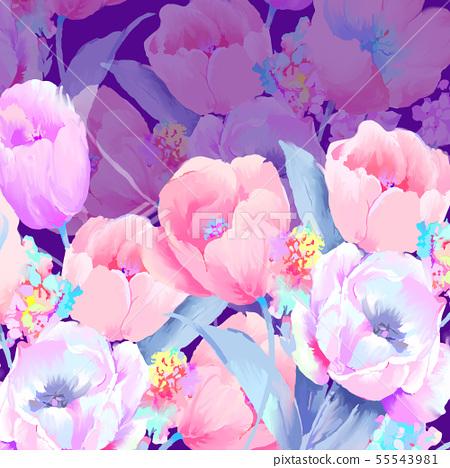 美麗優雅的水彩玫瑰和牡丹花花卉插畫 55543981