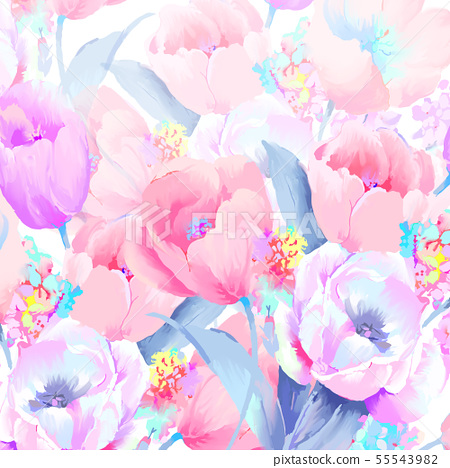 아름 다운 우아한 수채화 장미와 모란 꽃 그림 55543982