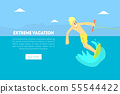 Extreme Vacation Landing Page Template, Man Riding Wakeboard on Summer Holidays, Water Skiing Vector 55544422