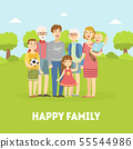 Happy Family, Father, Mother, Grandfather, Grandmother and Children Posing Together on Nature 55544986