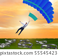 Businessman falling into trap on parachute 55545423