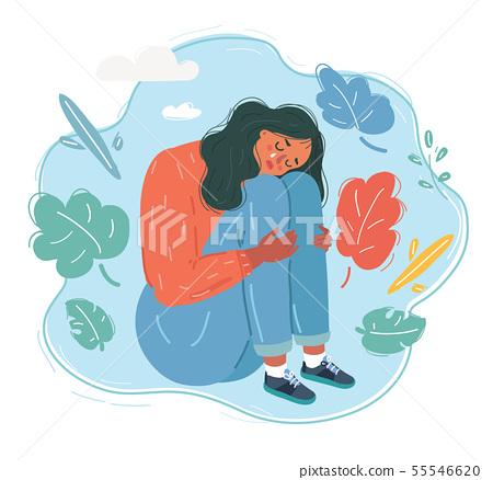 Sad and depressed woman. 55546620
