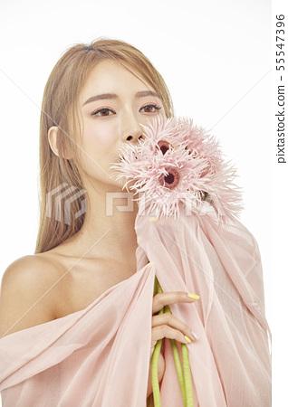 꽃,뷰티,젊은여자 55547396
