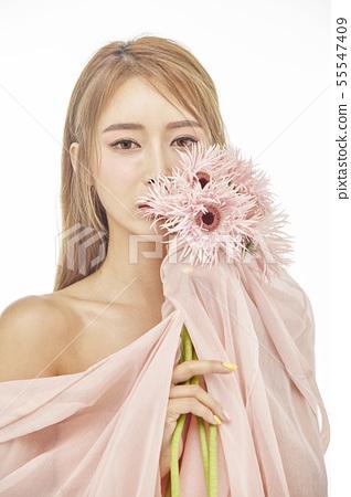 꽃,뷰티,젊은여자 55547409