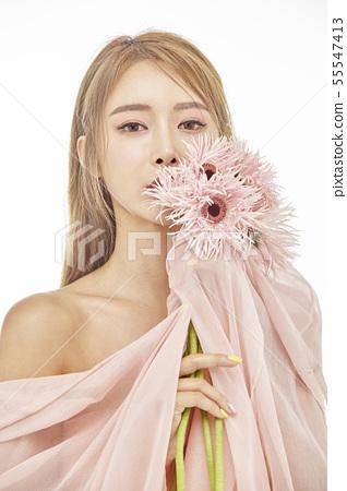 꽃,뷰티,젊은여자 55547413