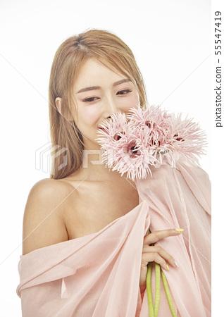 꽃,뷰티,젊은여자 55547419