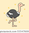 Ostrich cartoon hand drawn style 55547609