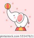 Circus elephant cartoon hand drawn style 55547621