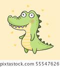 Alligator cartoon hand drawn style 55547626