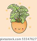 Cute plant cartoon hand drawn style 55547627