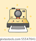 Polaroid camera cartoon hand drawn style 55547641