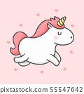 Cute unicorn running cartoon hand drawn style 55547642