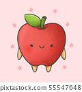 Cute apple cartoon hand drawn style 55547648